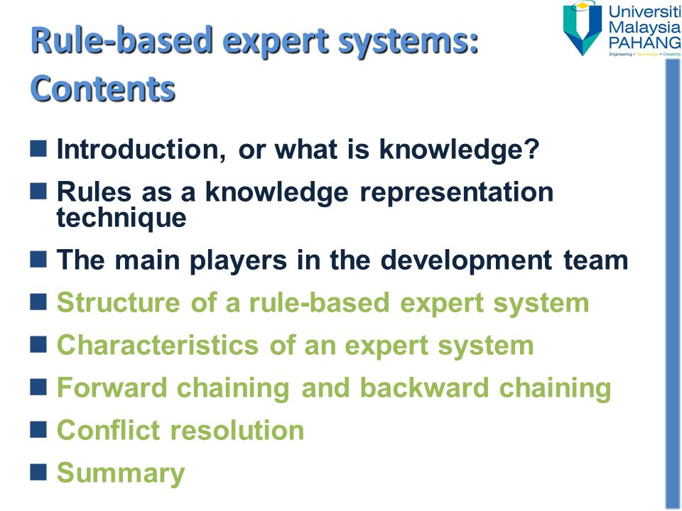 Rule-based expert systems: Contents