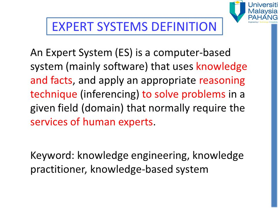 EXPERT SYSTEMS DEFINITION