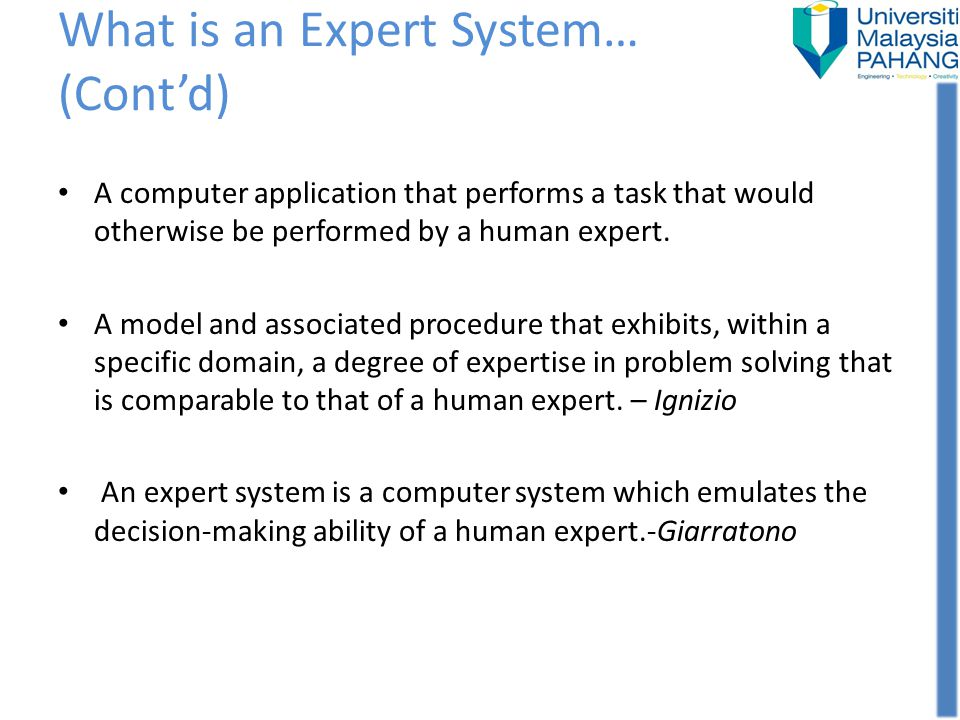 What is an Expert System… (Cont'd)