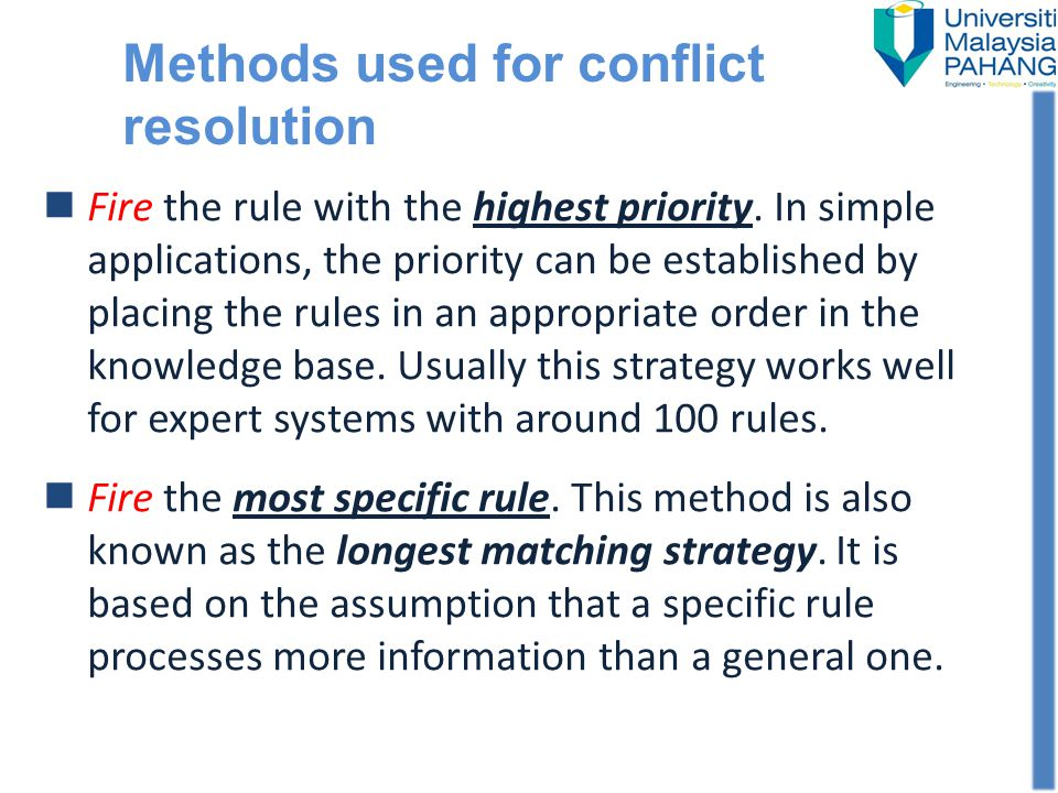 Methods used for conflict resolution