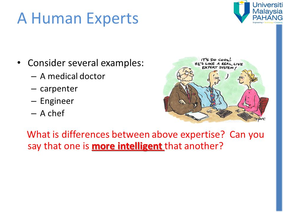 A Human Experts Consider several examples: