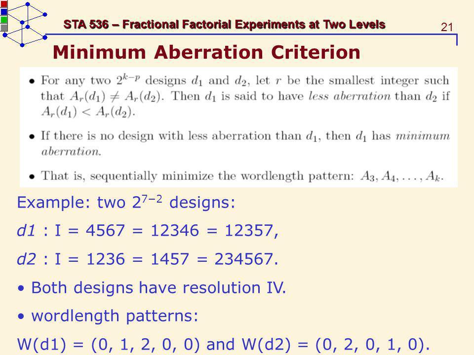 Minimum Aberration Criterion