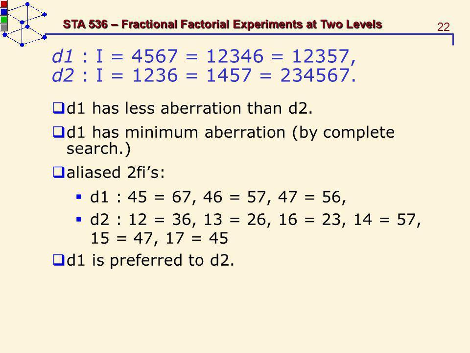 d1 : I = 4567 = 12346 = 12357, d2 : I = 1236 = 1457 = 234567. d1 has less aberration than d2. d1 has minimum aberration (by complete search.)