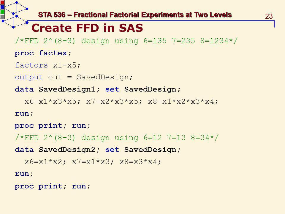 Create FFD in SAS