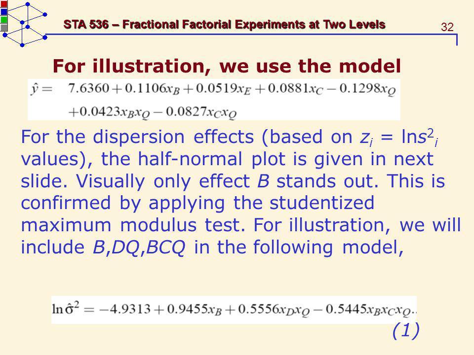 For illustration, we use the model