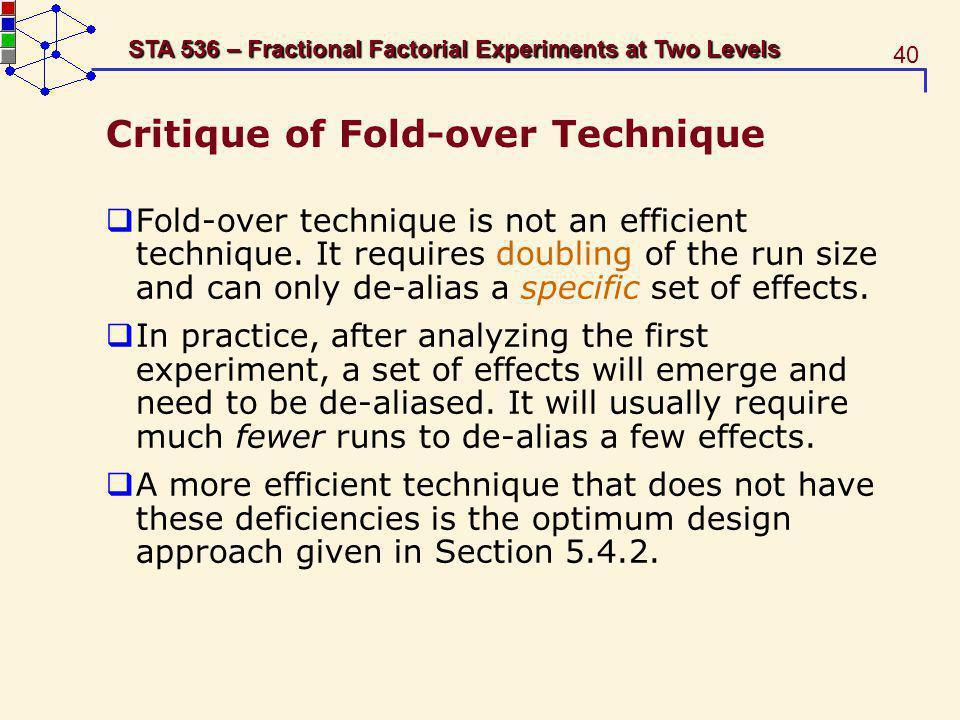 Critique of Fold-over Technique