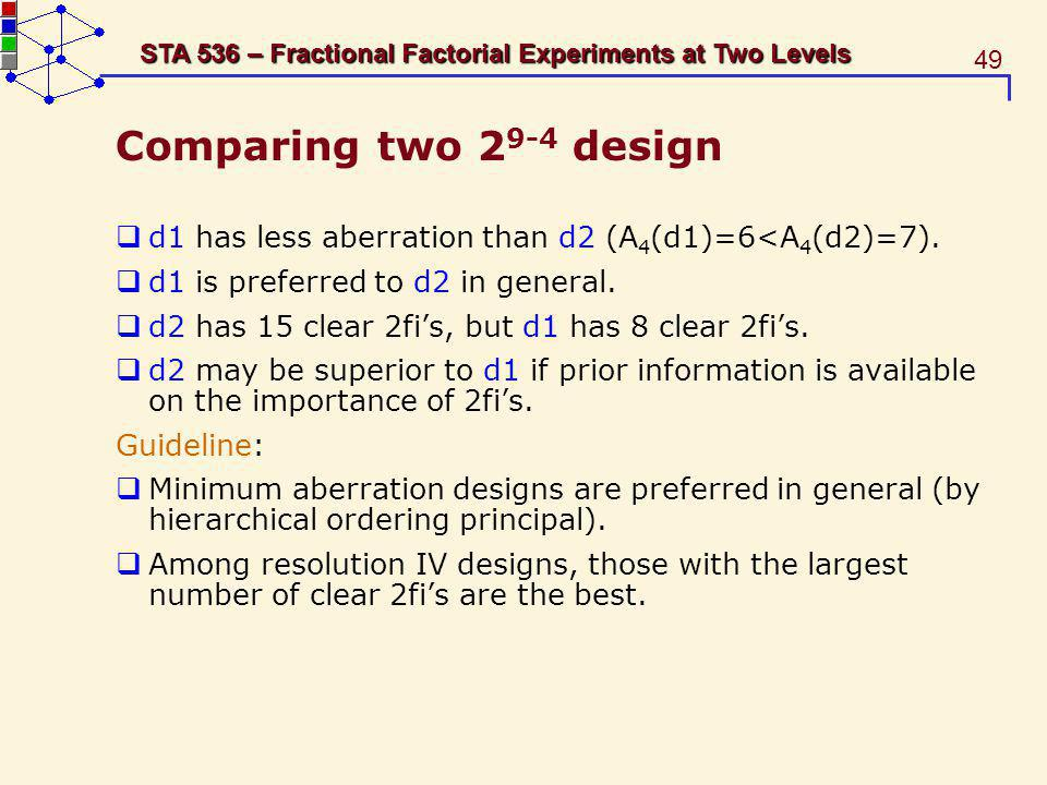 Comparing two 29-4 design d1 has less aberration than d2 (A4(d1)=6<A4(d2)=7). d1 is preferred to d2 in general.