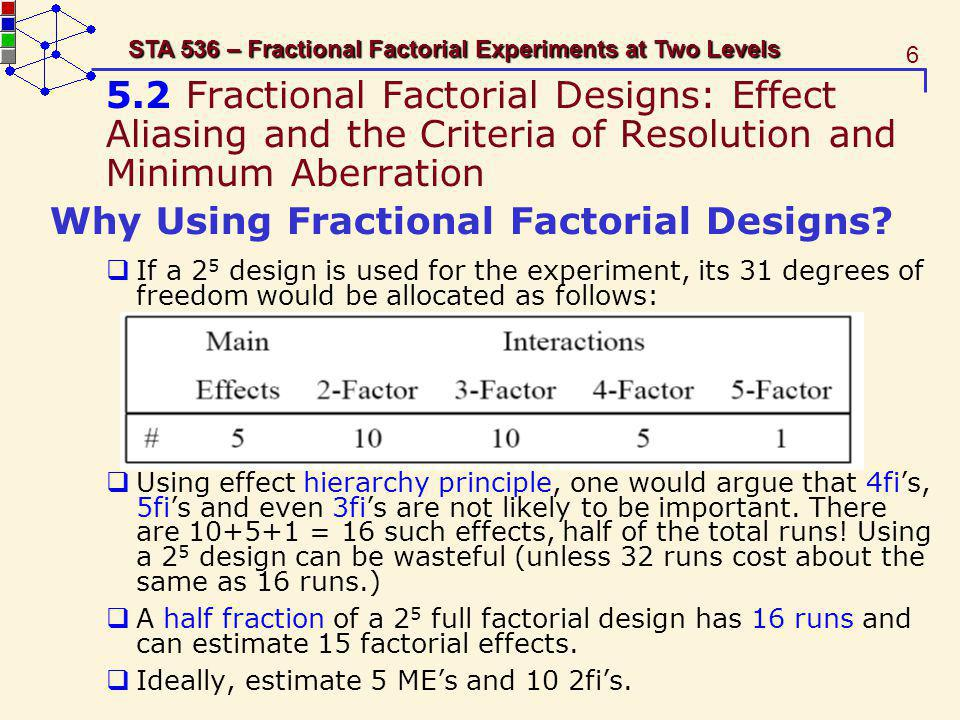 Why Using Fractional Factorial Designs