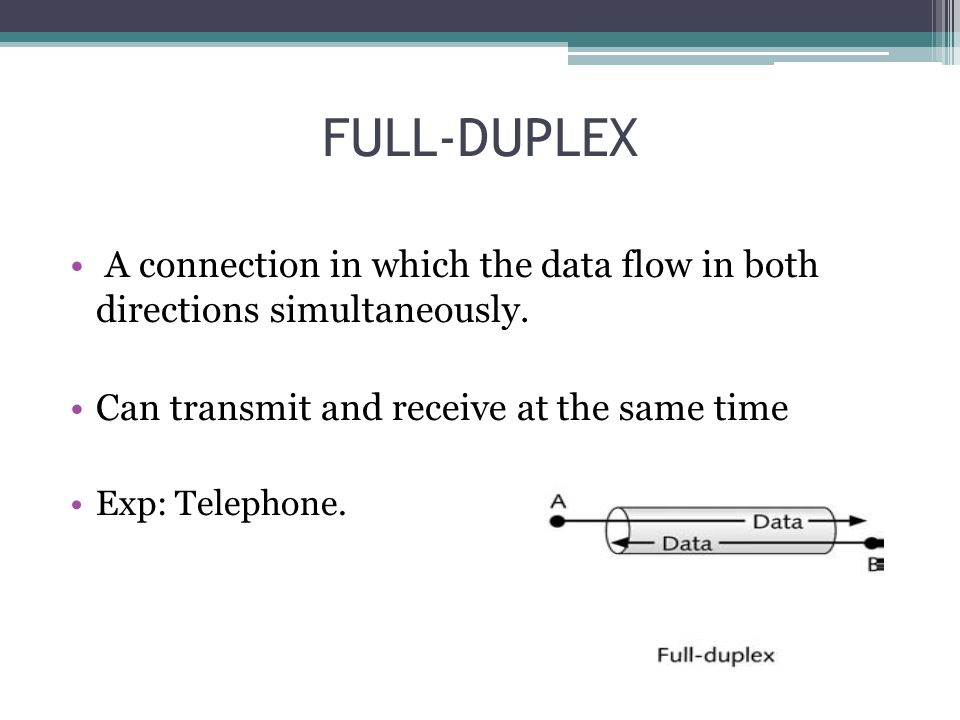 FULL-DUPLEX A connection in which the data flow in both directions simultaneously. Can transmit and receive at the same time.