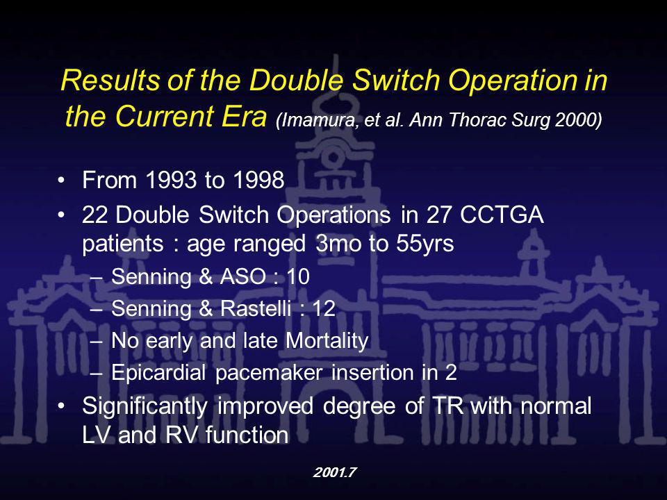 Results of the Double Switch Operation in the Current Era (Imamura, et al. Ann Thorac Surg 2000)