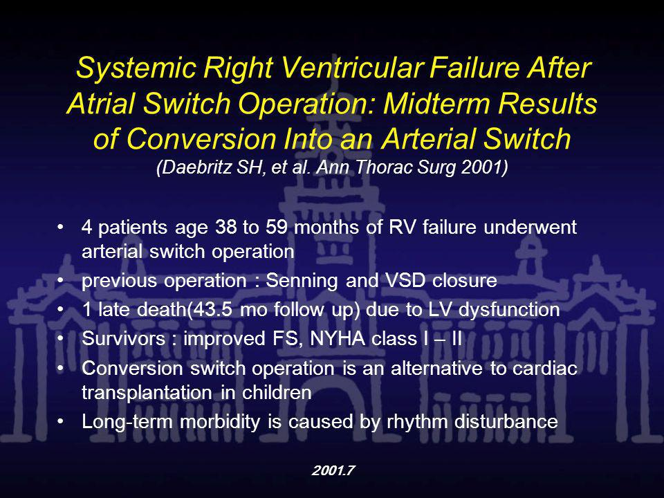 Systemic Right Ventricular Failure After Atrial Switch Operation: Midterm Results of Conversion Into an Arterial Switch (Daebritz SH, et al. Ann Thorac Surg 2001)