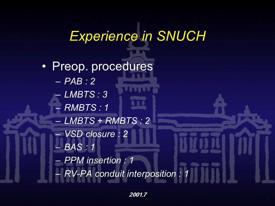 Experience in SNUCH Preop. procedures PAB : 2 LMBTS : 3 RMBTS : 1