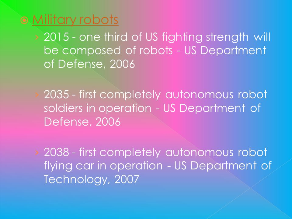 Military robots one third of US fighting strength will be composed of robots - US Department of Defense,