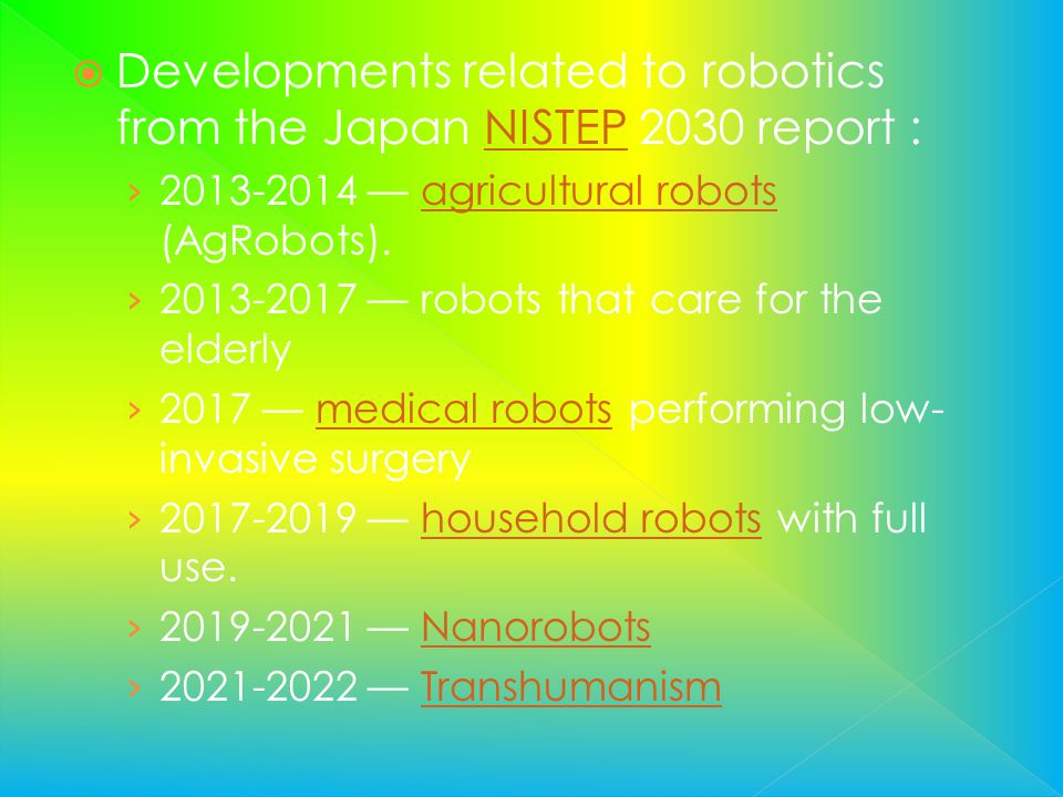 Developments related to robotics from the Japan NISTEP 2030 report :