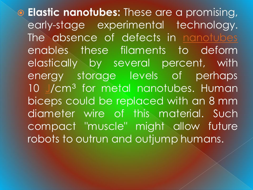 Elastic nanotubes: These are a promising, early-stage experimental technology.