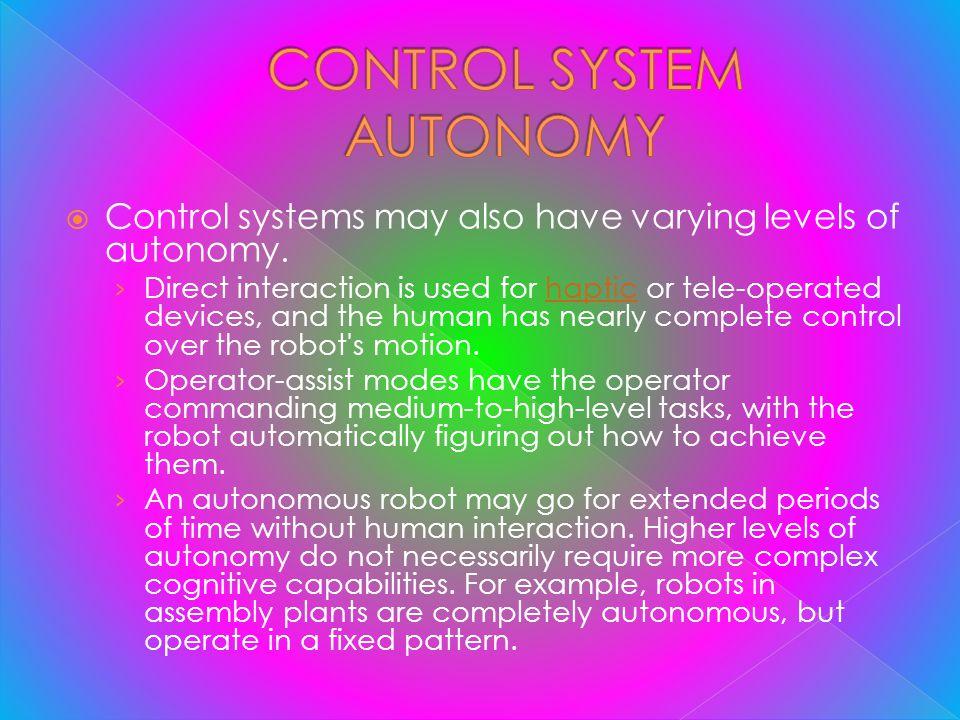 CONTROL SYSTEM AUTONOMY
