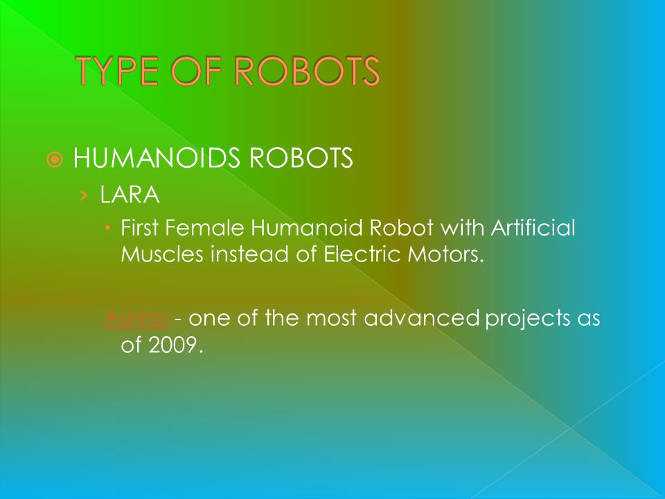 TYPE OF ROBOTS HUMANOIDS ROBOTS LARA