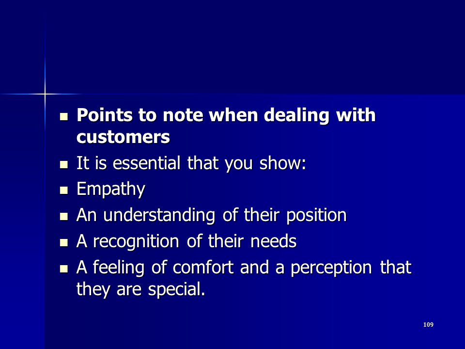 Points to note when dealing with customers