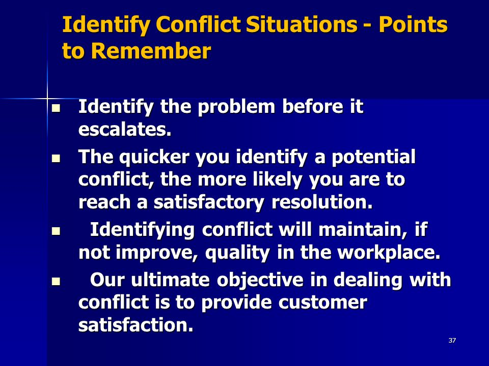 Identify Conflict Situations - Points to Remember
