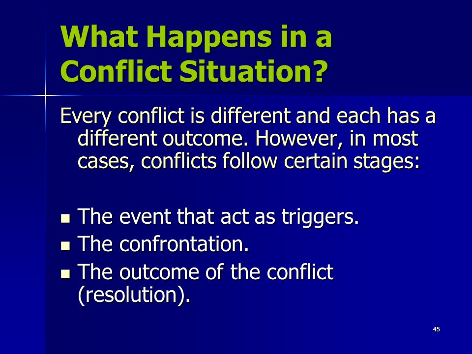 What Happens in a Conflict Situation
