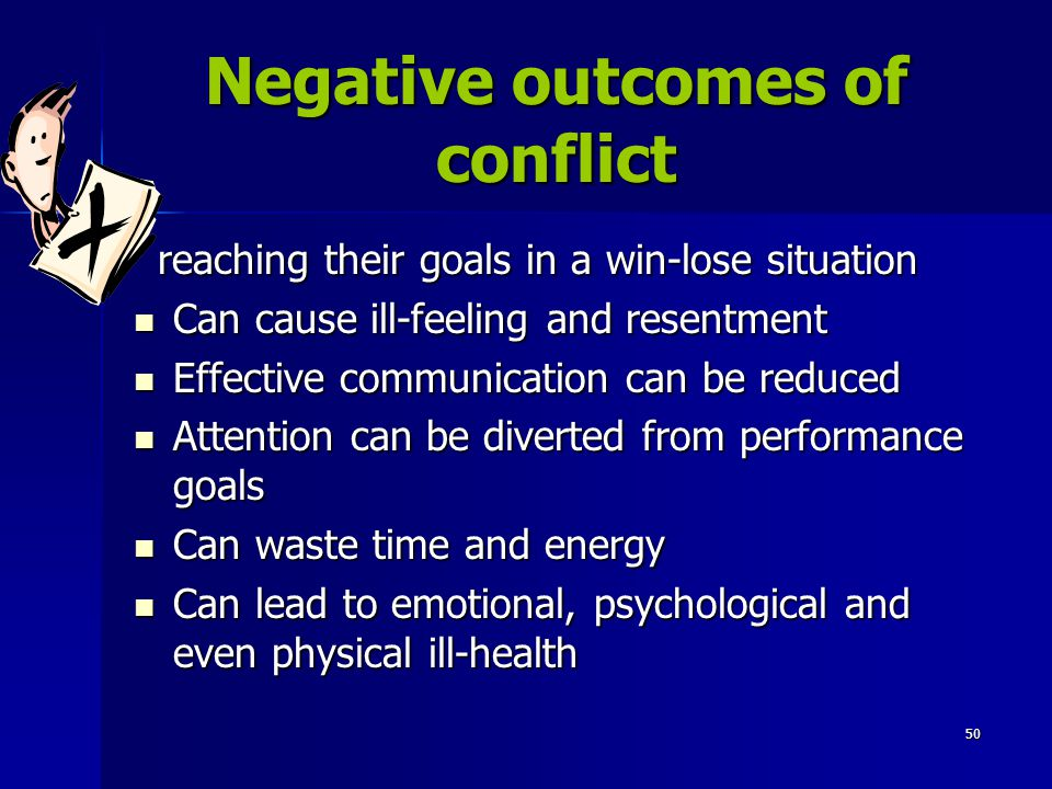 Negative outcomes of conflict