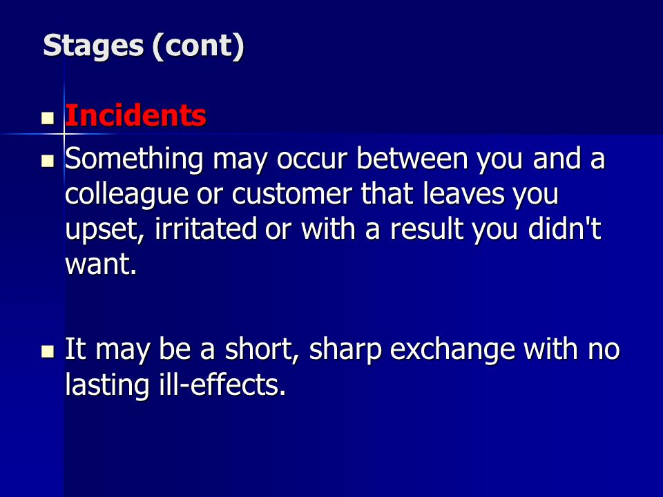 Stages (cont) Incidents.