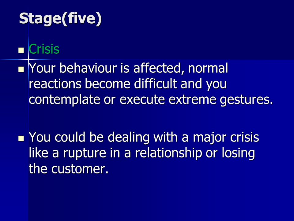 Stage(five) Crisis. Your behaviour is affected, normal reactions become difficult and you contemplate or execute extreme gestures.