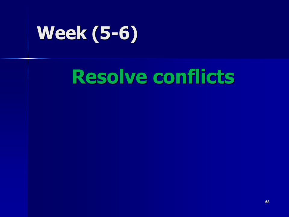 Week (5-6) Resolve conflicts