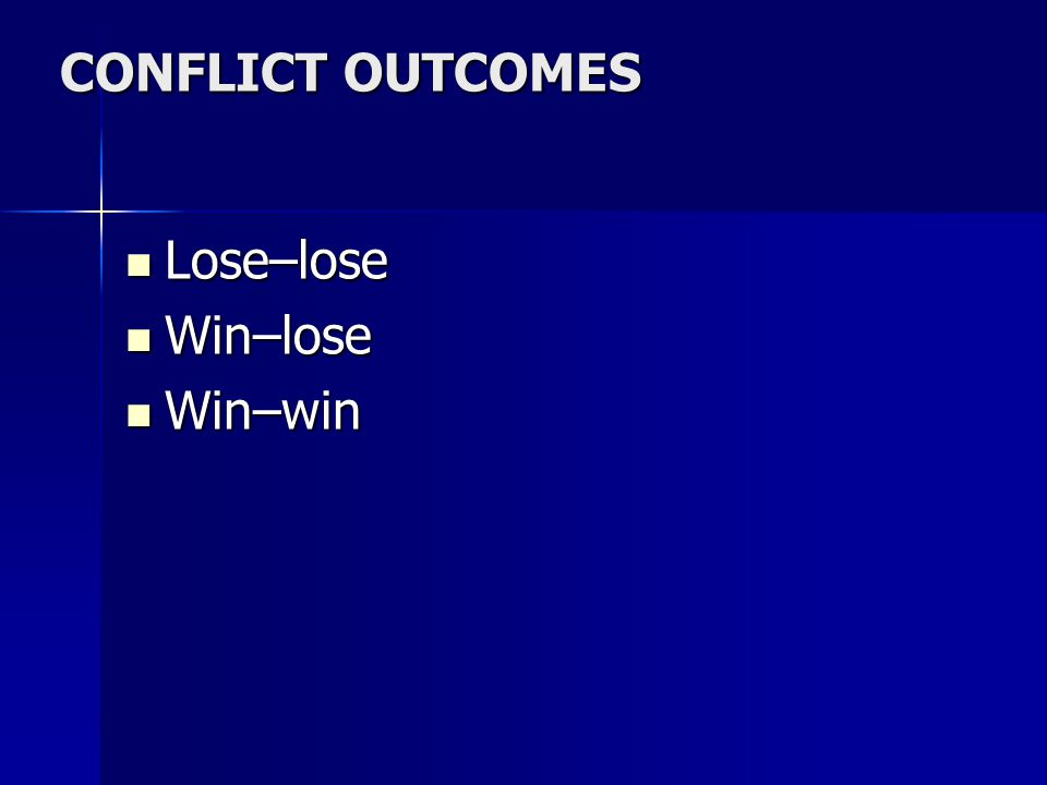 CONFLICT OUTCOMES Lose–lose Win–lose Win–win Refer to page 215