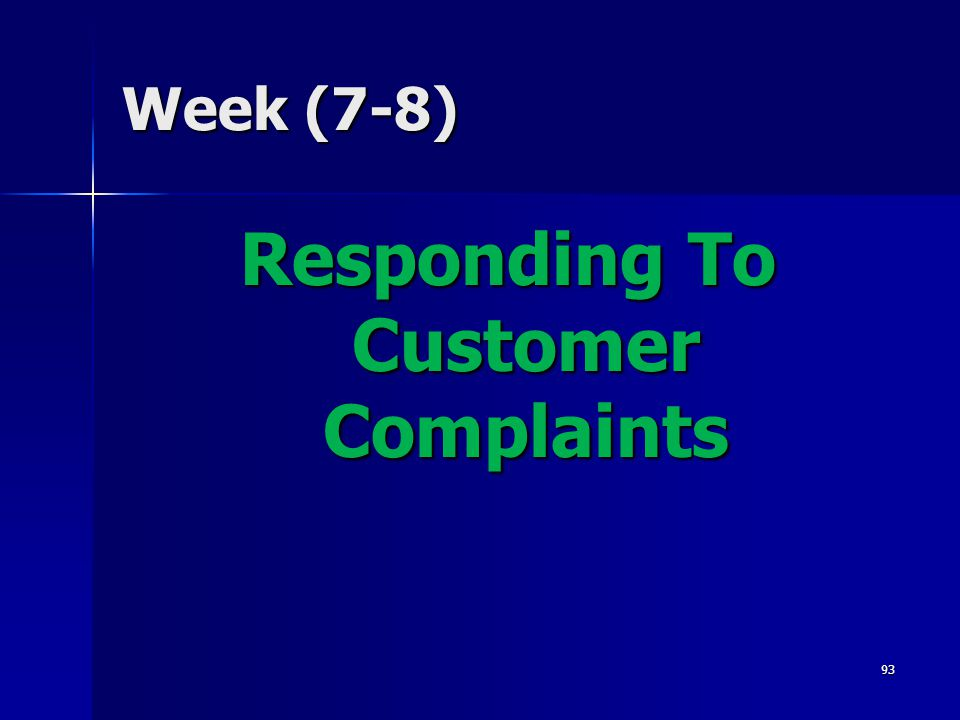 Responding To Customer Complaints
