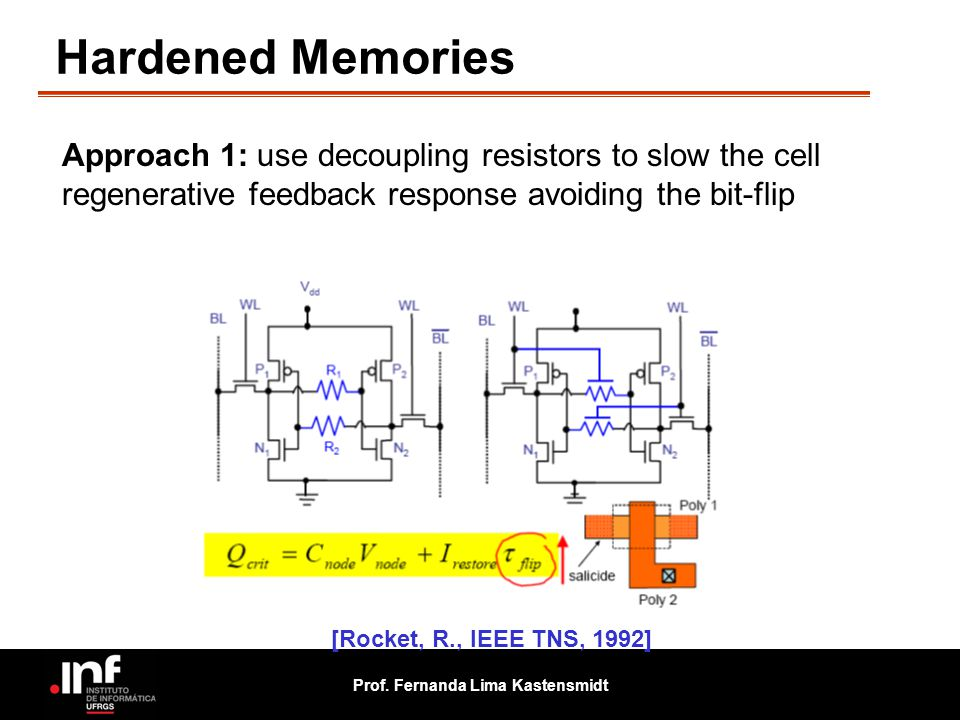Hardened Memories Approach 1: use decoupling resistors to slow the cell regenerative feedback response avoiding the bit-flip.