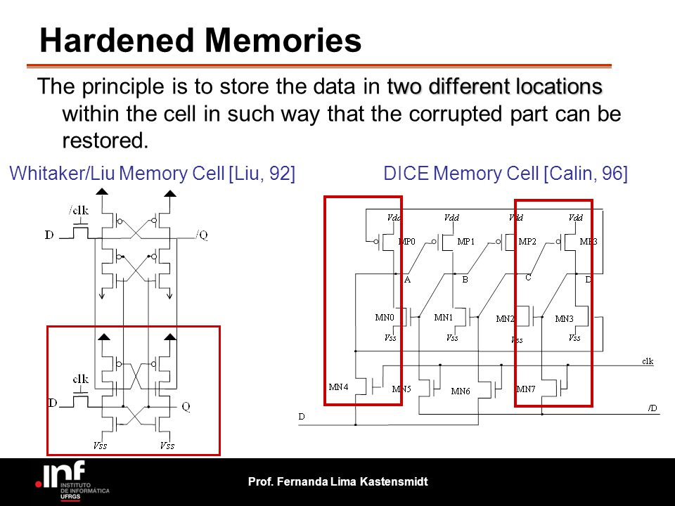 Hardened Memories The principle is to store the data in two different locations within the cell in such way that the corrupted part can be restored.