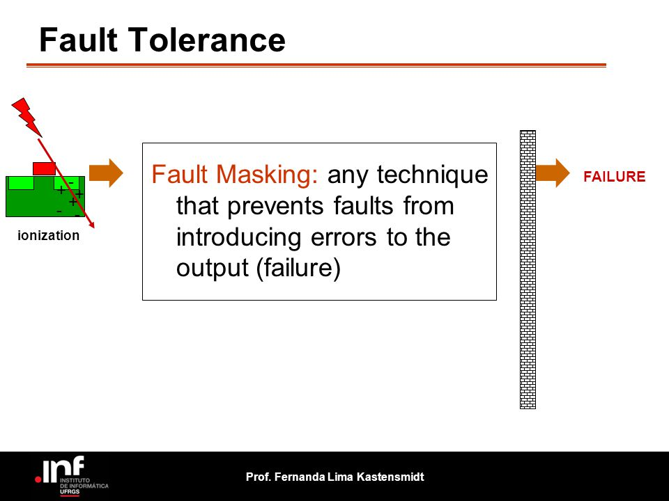 Fault Tolerance Fault Masking: any technique that prevents faults from introducing errors to the output (failure)