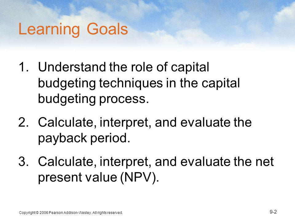 Learning Goals Understand the role of capital budgeting techniques in the capital budgeting process.