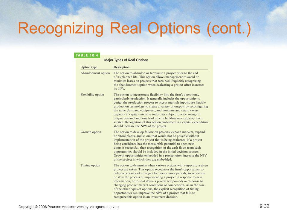 Recognizing Real Options (cont.)