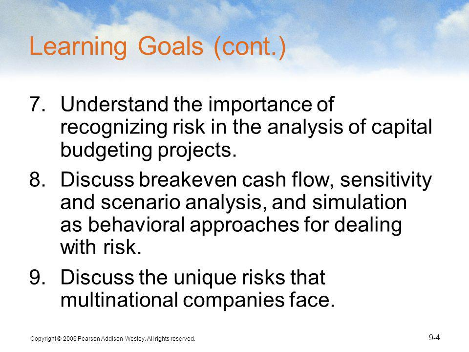 Learning Goals (cont.) Understand the importance of recognizing risk in the analysis of capital budgeting projects.