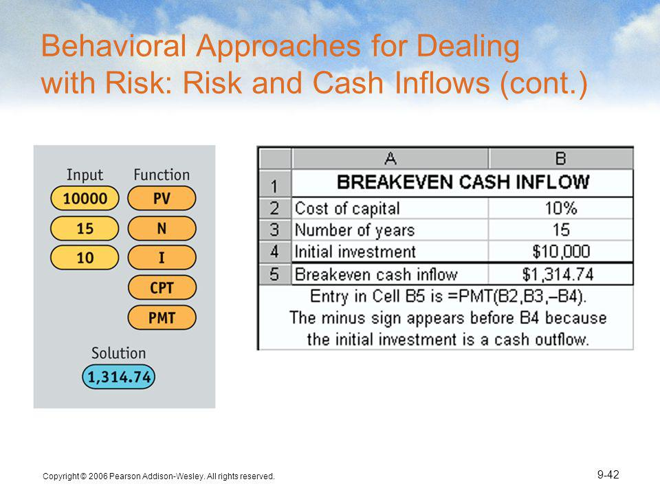Behavioral Approaches for Dealing with Risk: Risk and Cash Inflows (cont.)