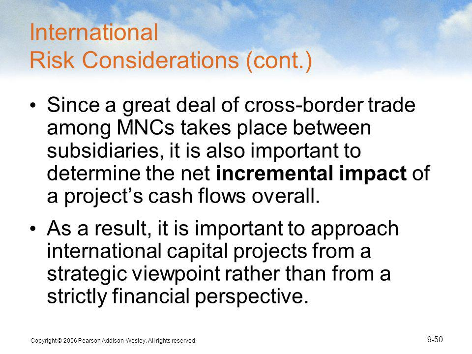 International Risk Considerations (cont.)