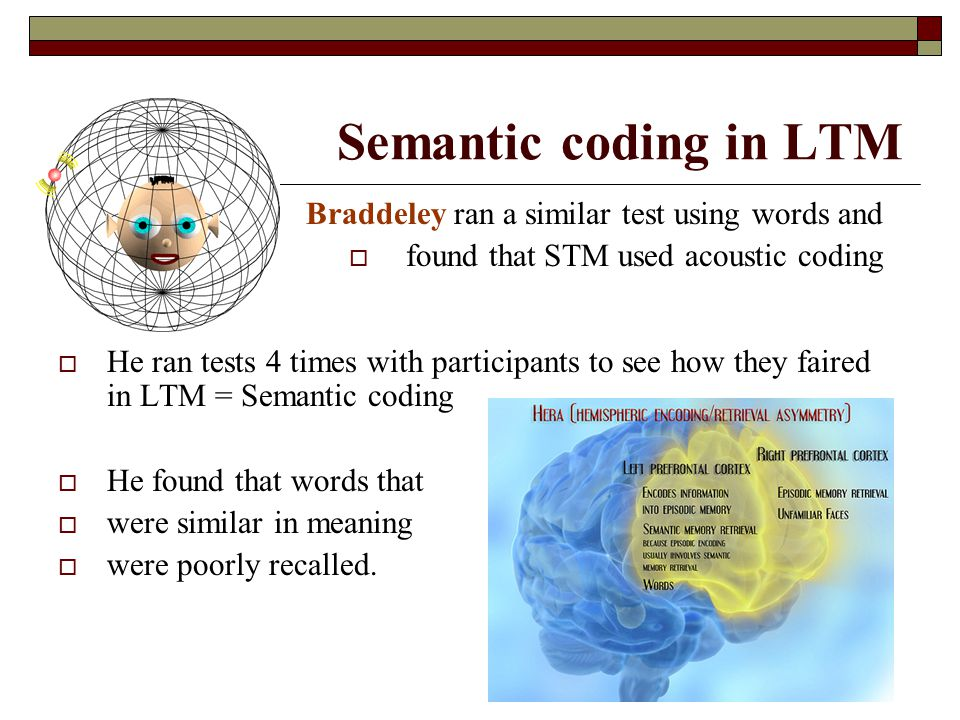 Semantic coding in LTM Braddeley ran a similar test using words and