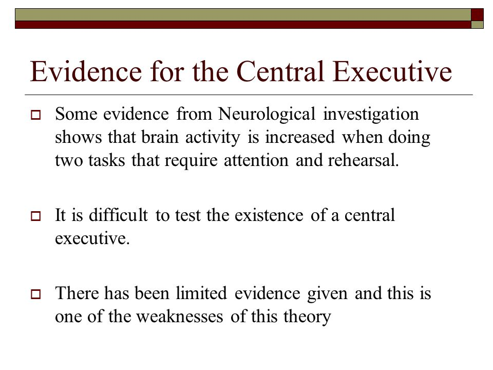 Evidence for the Central Executive