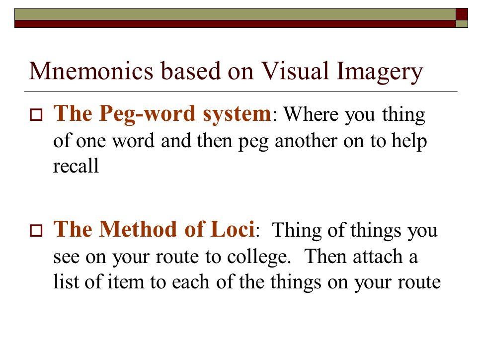 Mnemonics based on Visual Imagery