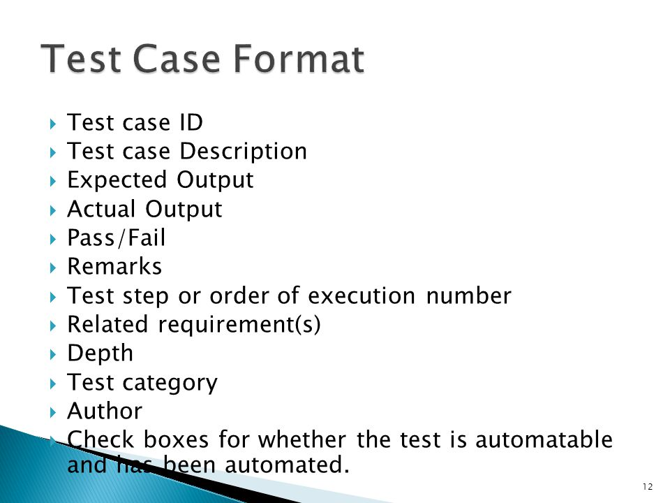 Test Case Format Test case ID Test case Description Expected Output