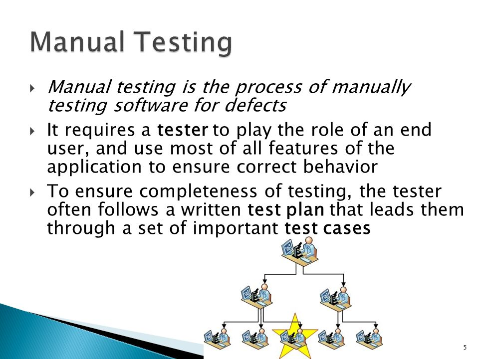 Manual Testing Manual testing is the process of manually testing software for defects.