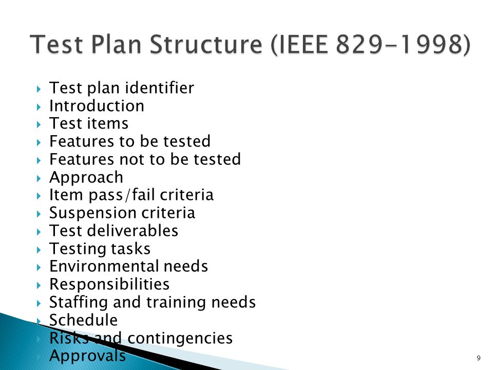 Test Plan Structure (IEEE )