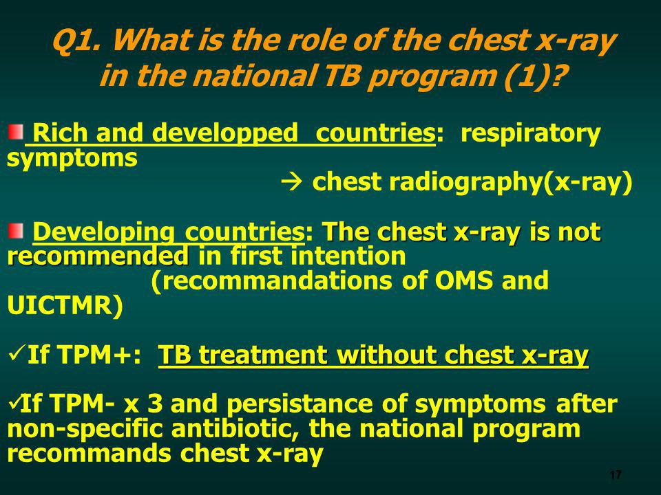 Q1. What is the role of the chest x-ray in the national TB program (1)
