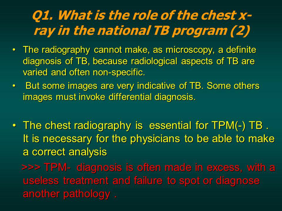 Q1. What is the role of the chest x-ray in the national TB program (2)