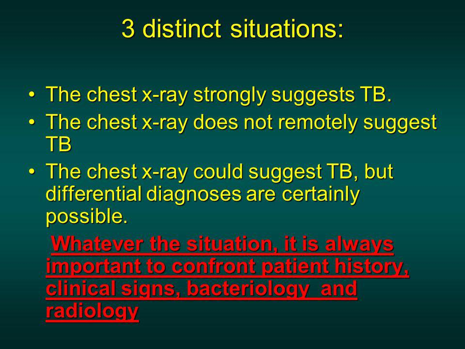 3 distinct situations: The chest x-ray strongly suggests TB.