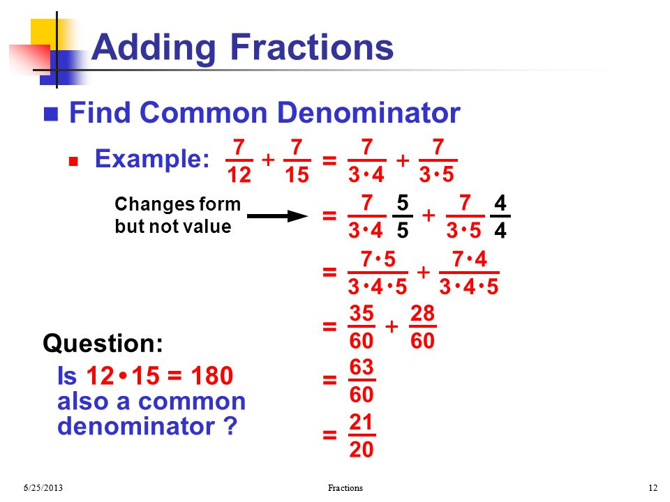 Adding Fractions Find Common Denominator Example: + = + = + + = = +