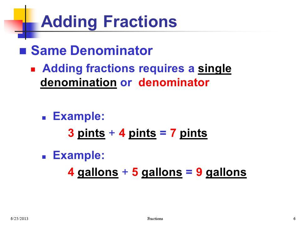 Adding Fractions Same Denominator