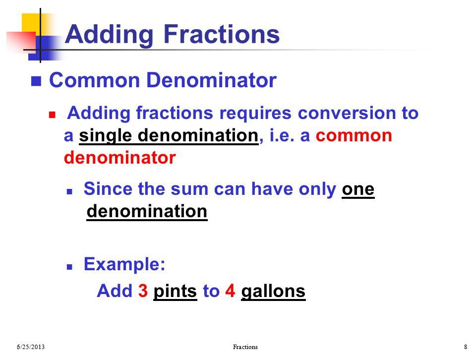 Adding Fractions Common Denominator